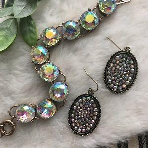 Iridescent Crystal Link Bracelet & Earring Set